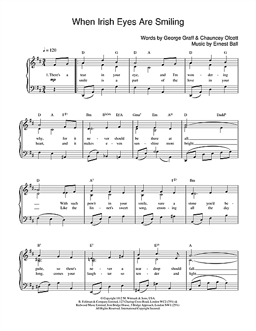 Ernest Ball When Irish Eyes Are Smiling sheet music notes and chords