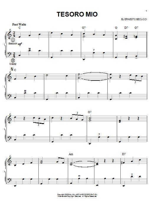Ernesto Becucci Tesoro Mio sheet music notes and chords