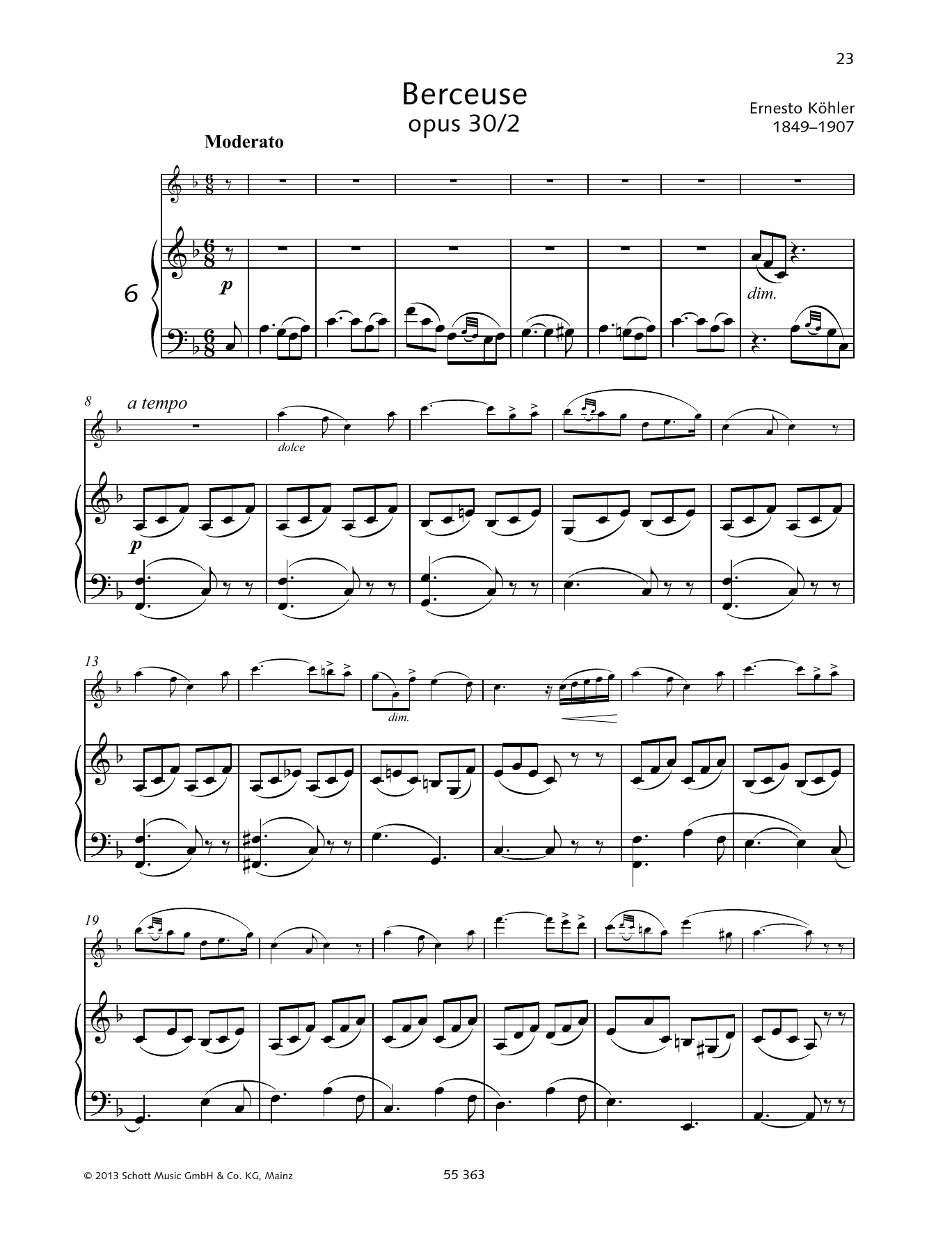Ernesto Kohler Berceuse sheet music preview music notes and score for Woodwind Solo including 7 page(s)