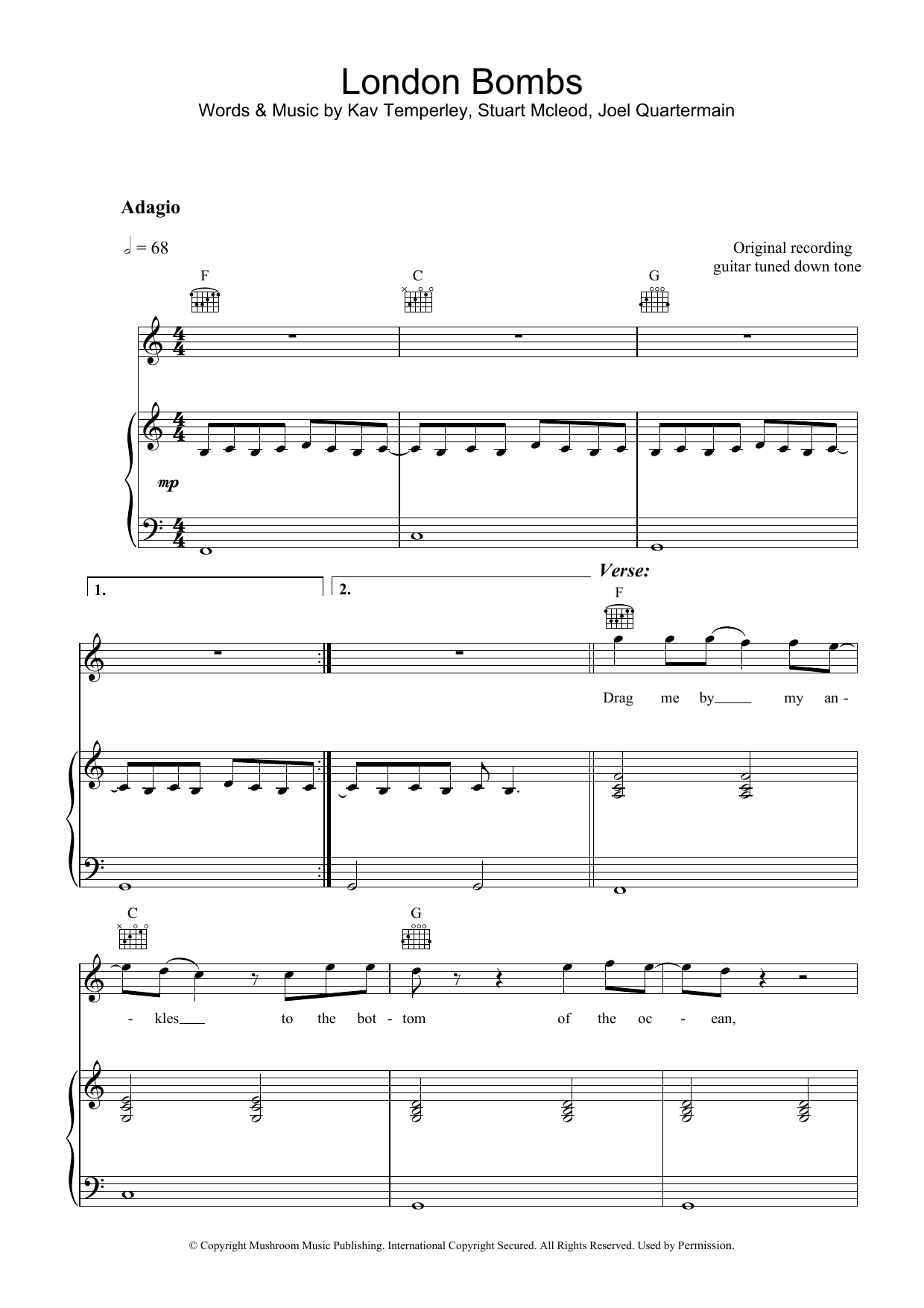 Eskimo Joe London Bombs sheet music preview music notes and score for Piano, Vocal & Guitar including 7 page(s)