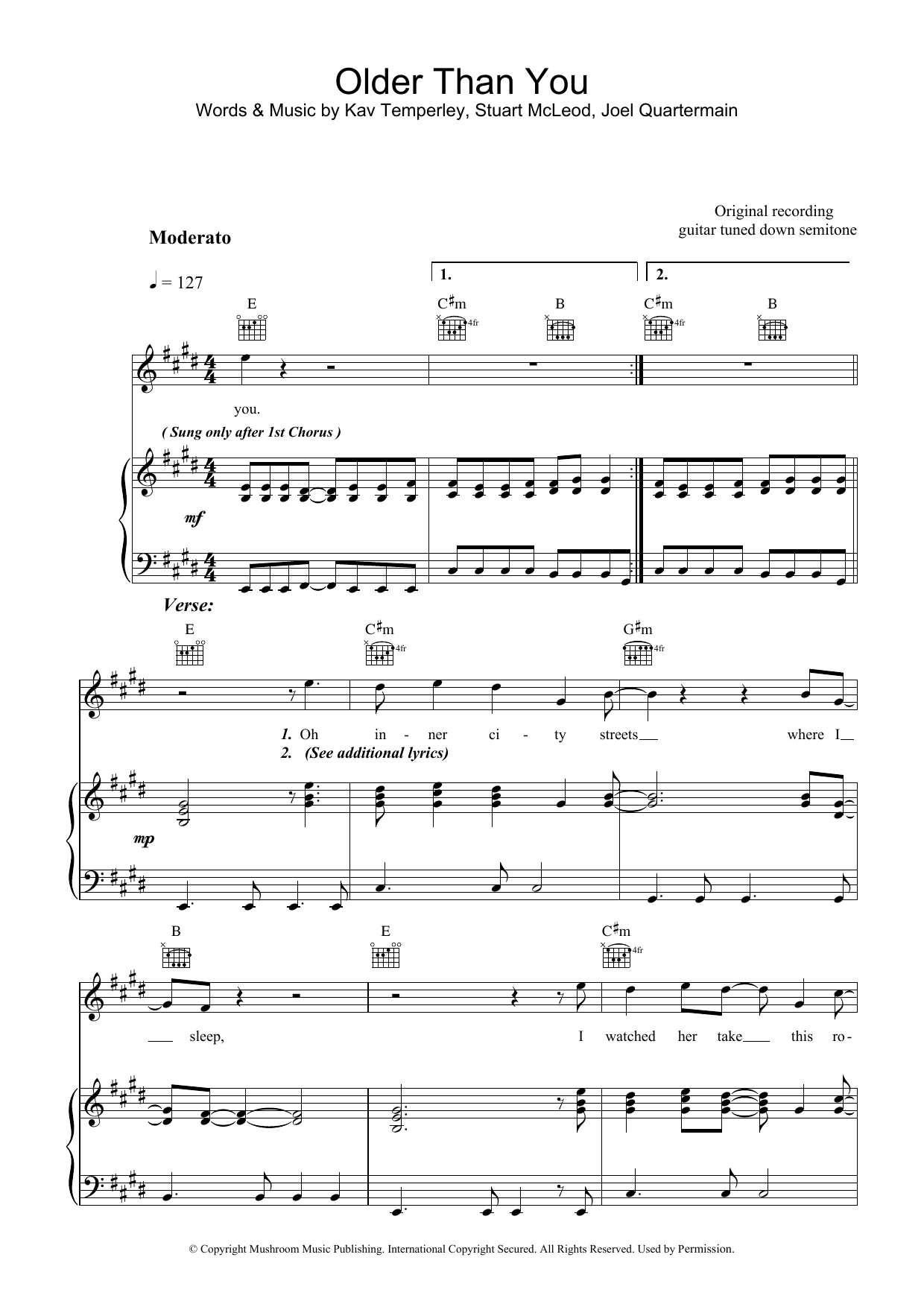 Eskimo Joe Older Than You sheet music preview music notes and score for Piano, Vocal & Guitar (Right-Hand Melody) including 5 page(s)