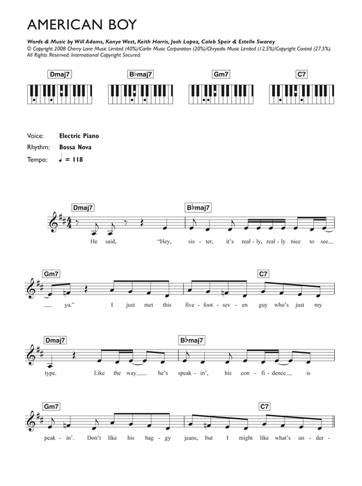 Estelle American Boy (feat. Kanye West) sheet music preview music notes and score for Keyboard including 2 page(s)