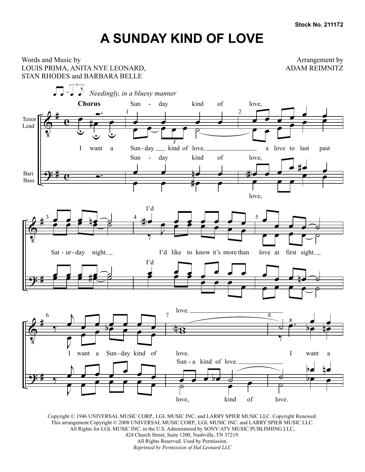 Etta James A Sunday Kind of Love (arr. Adam Reimnitz) sheet music preview music notes and score for TTBB Choir including 6 page(s)