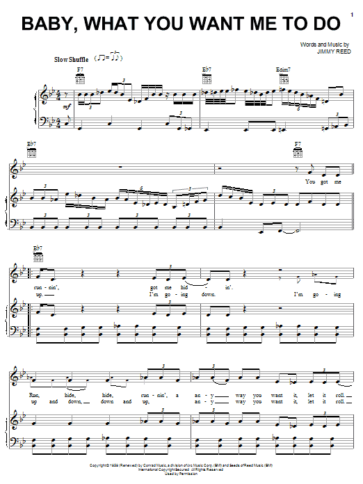 Etta James Baby, What You Want Me To Do sheet music preview music notes and score for Piano, Vocal & Guitar (Right-Hand Melody) including 5 page(s)