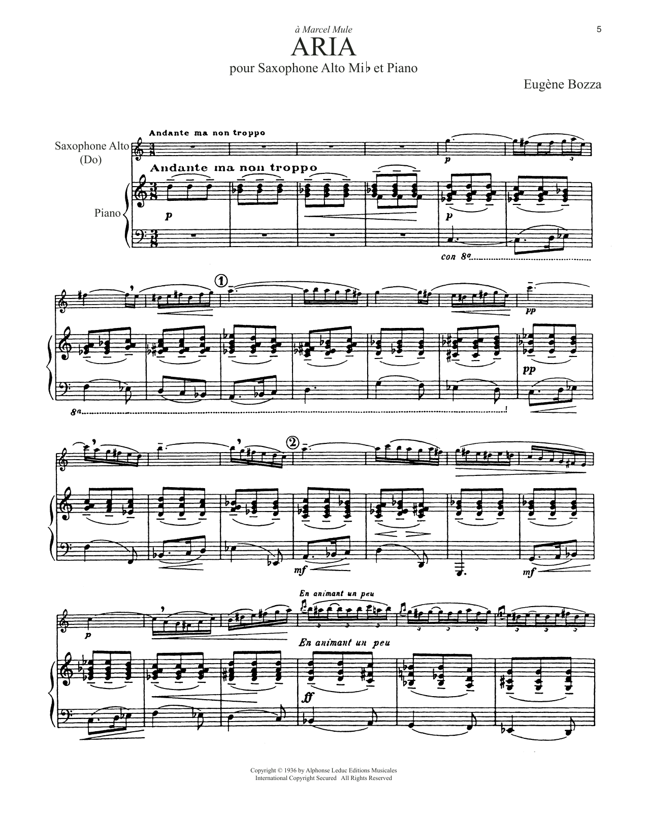 Download Eugene Bozza 'Aria' Digital Sheet Music Notes & Chords and start playing in minutes