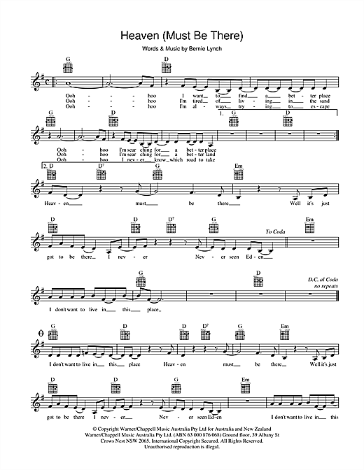 Eurogliders Heaven (Must Be There) sheet music preview music notes and score for Melody Line, Lyrics & Chords including 2 page(s)