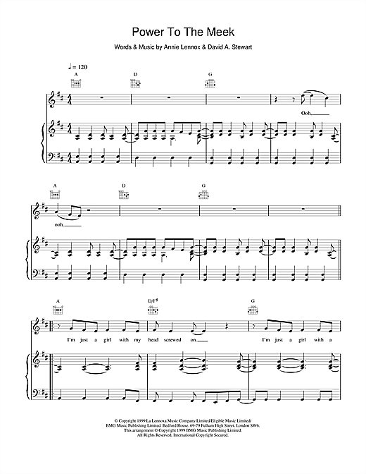 Eurythmics Power To The Meek sheet music notes and chords