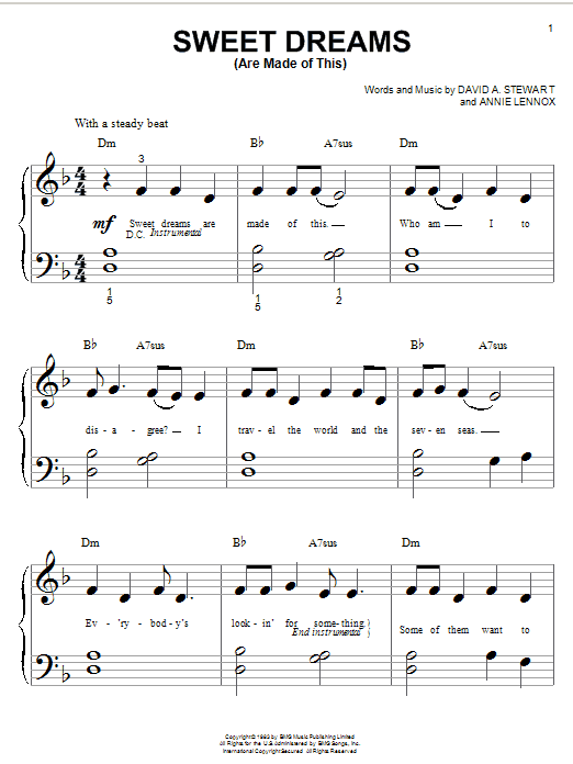 Eurythmics Sweet Dreams (Are Made Of This) sheet music preview music notes and score for Keyboard including 2 page(s)