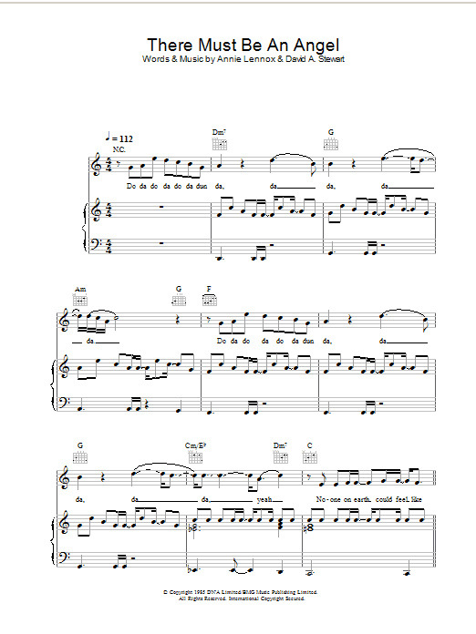 Eurythmics There Must Be An Angel (Playing With My Heart) sheet music preview music notes and score for Piano, Vocal & Guitar including 8 page(s)