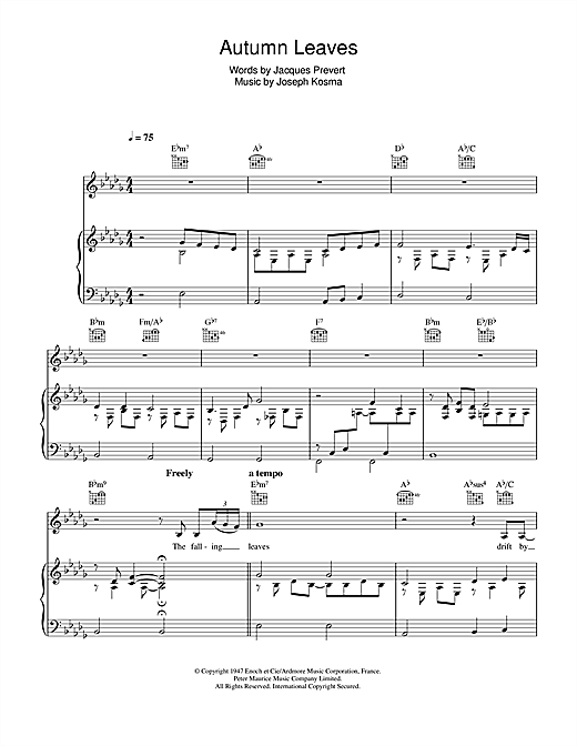Download Eva Cassidy 'Autumn Leaves (Les Feuilles Mortes)' Digital Sheet Music Notes & Chords and start playing in minutes