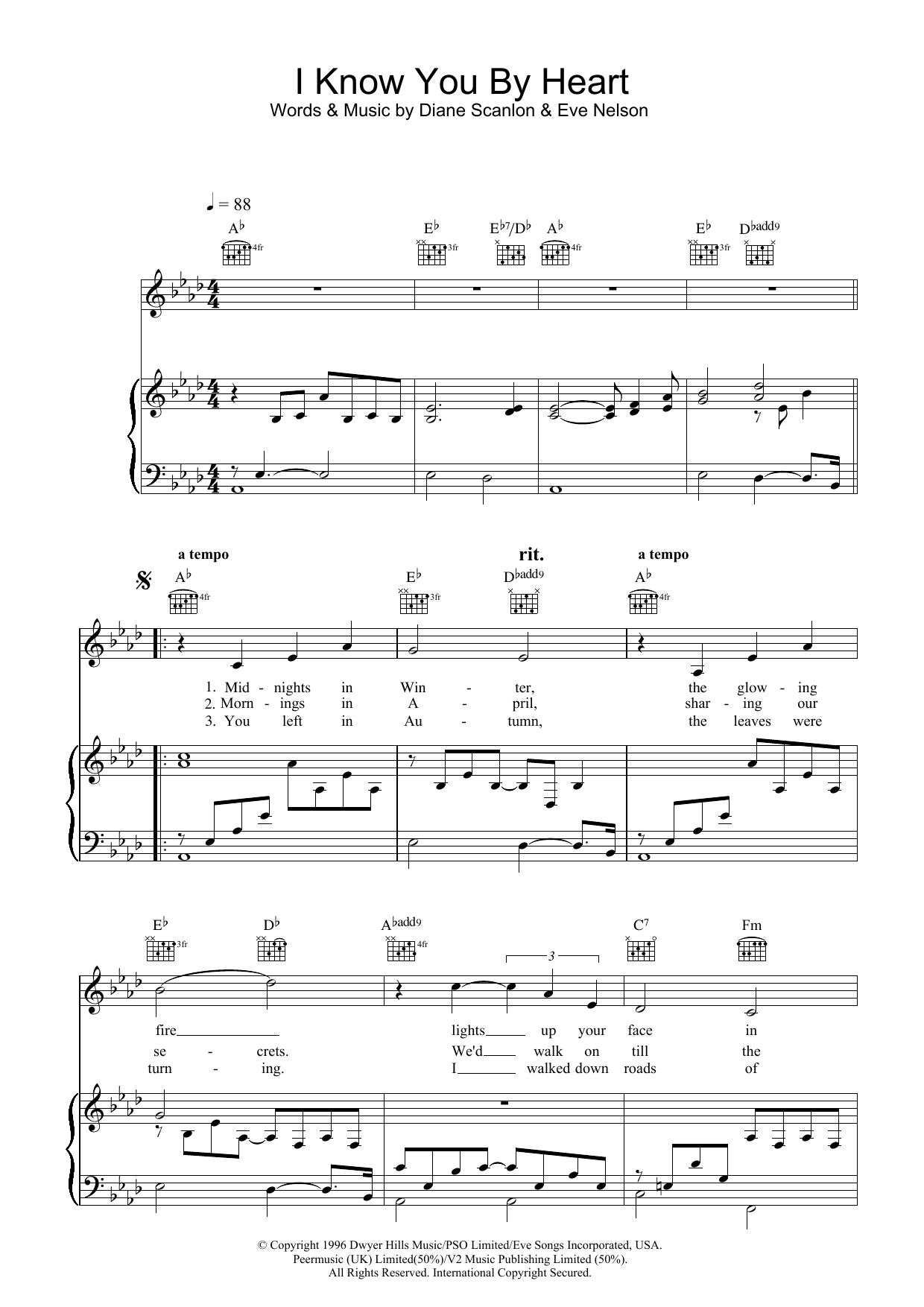 Eva Cassidy I Know You By Heart sheet music preview music notes and score for Piano including 3 page(s)