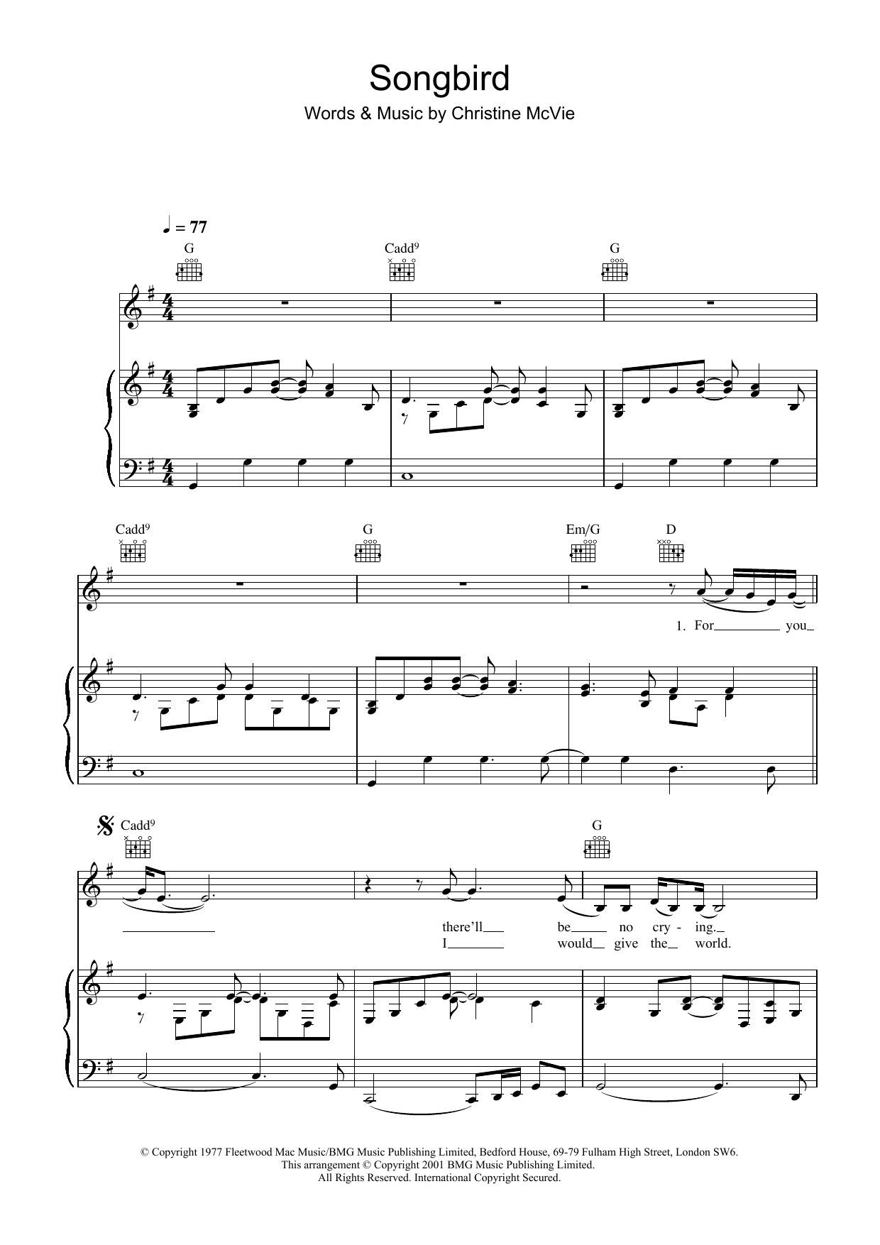 Eva Cassidy Songbird sheet music preview music notes and score for Piano, Vocal & Guitar (Right-Hand Melody) including 4 page(s)