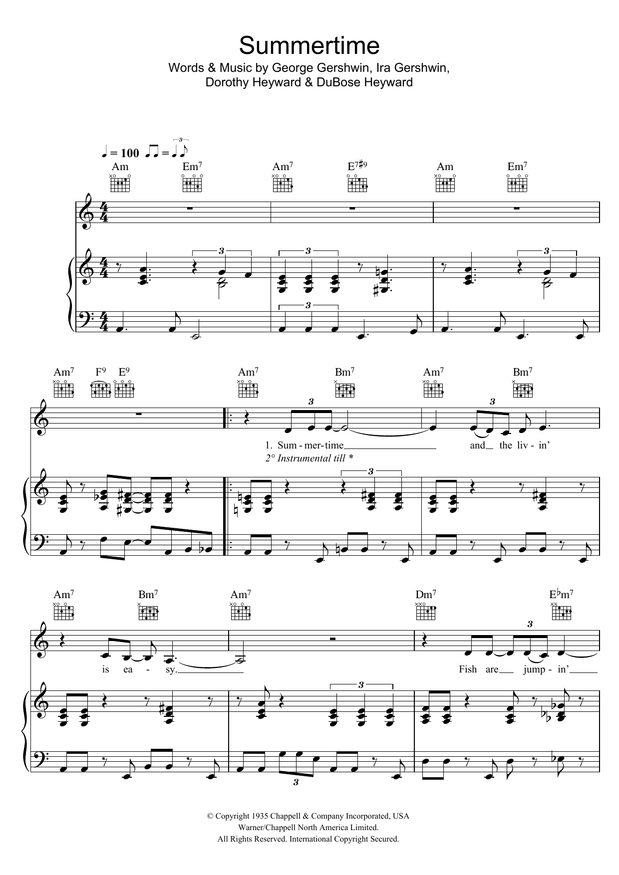Eva Cassidy Summertime (from Porgy And Bess) sheet music preview music notes and score for Piano, Vocal & Guitar including 4 page(s)