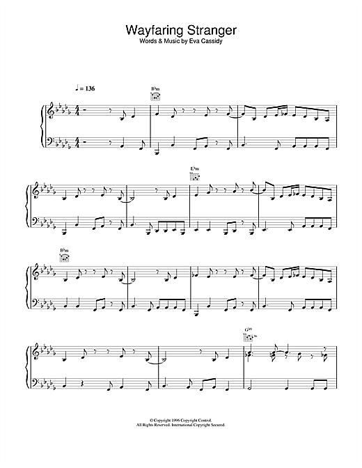Eva Cassidy Wayfaring Stranger sheet music notes and chords