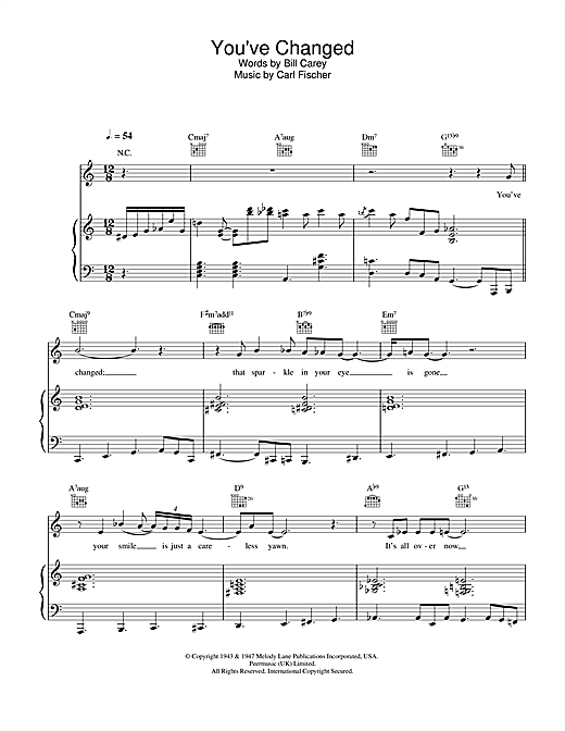 Eva Cassidy You've Changed sheet music notes and chords