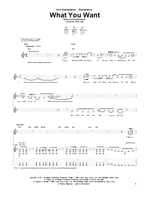 Evanescence What You Want sheet music preview music notes and score for Guitar Tab including 7 page(s)