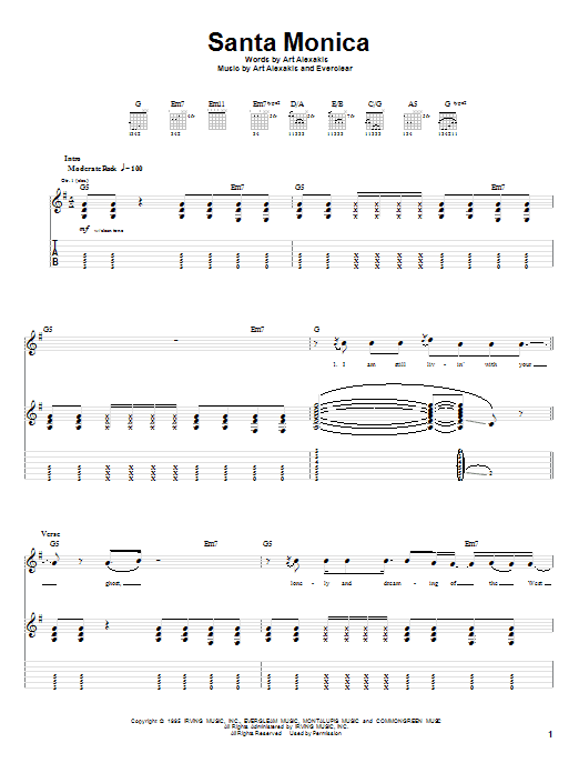 Everclear Santa Monica sheet music preview music notes and score for Guitar Tab including 9 page(s)