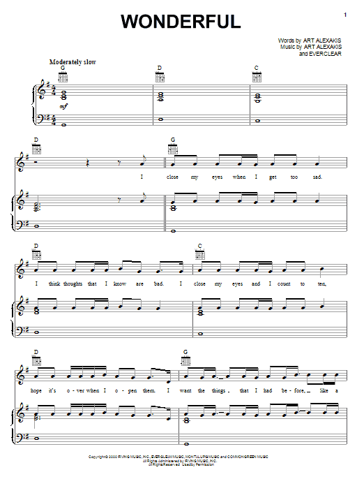 Everclear Wonderful sheet music preview music notes and score for Piano, Vocal & Guitar (Right-Hand Melody) including 7 page(s)