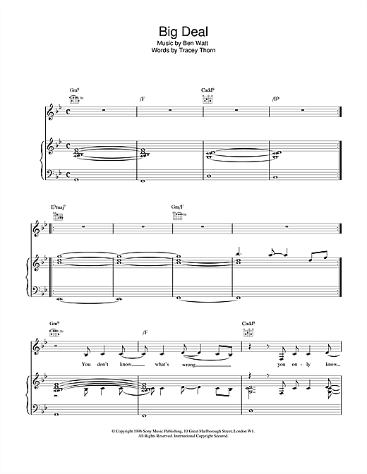 Everything But The Girl Big Deal sheet music notes and chords
