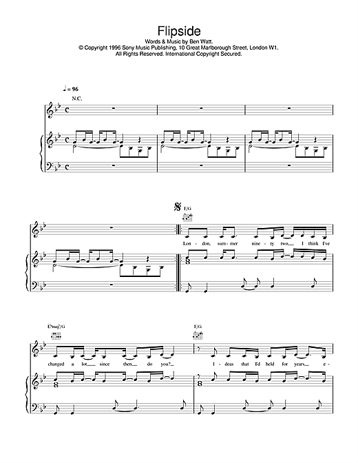 Everything But The Girl Flipside sheet music notes and chords