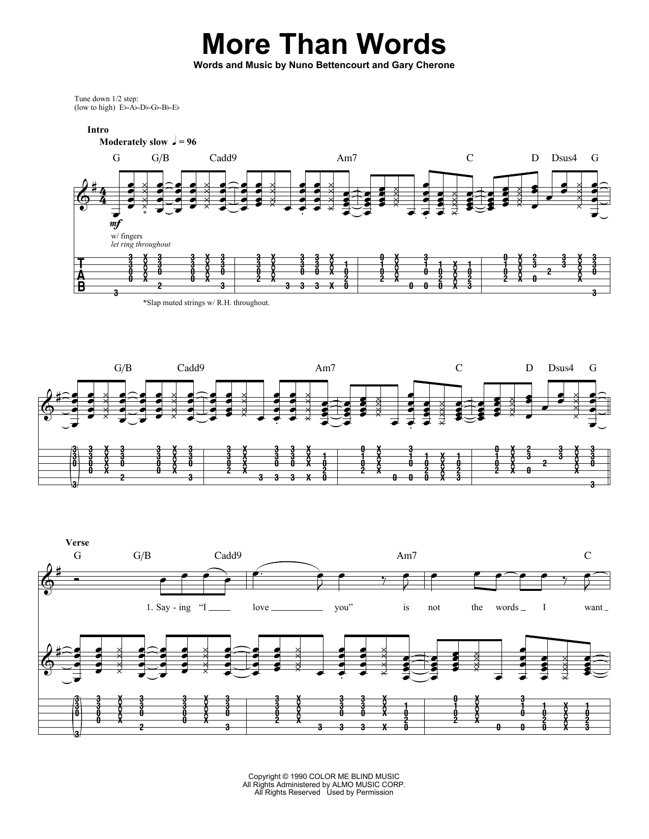 Extreme More Than Words sheet music notes and chords