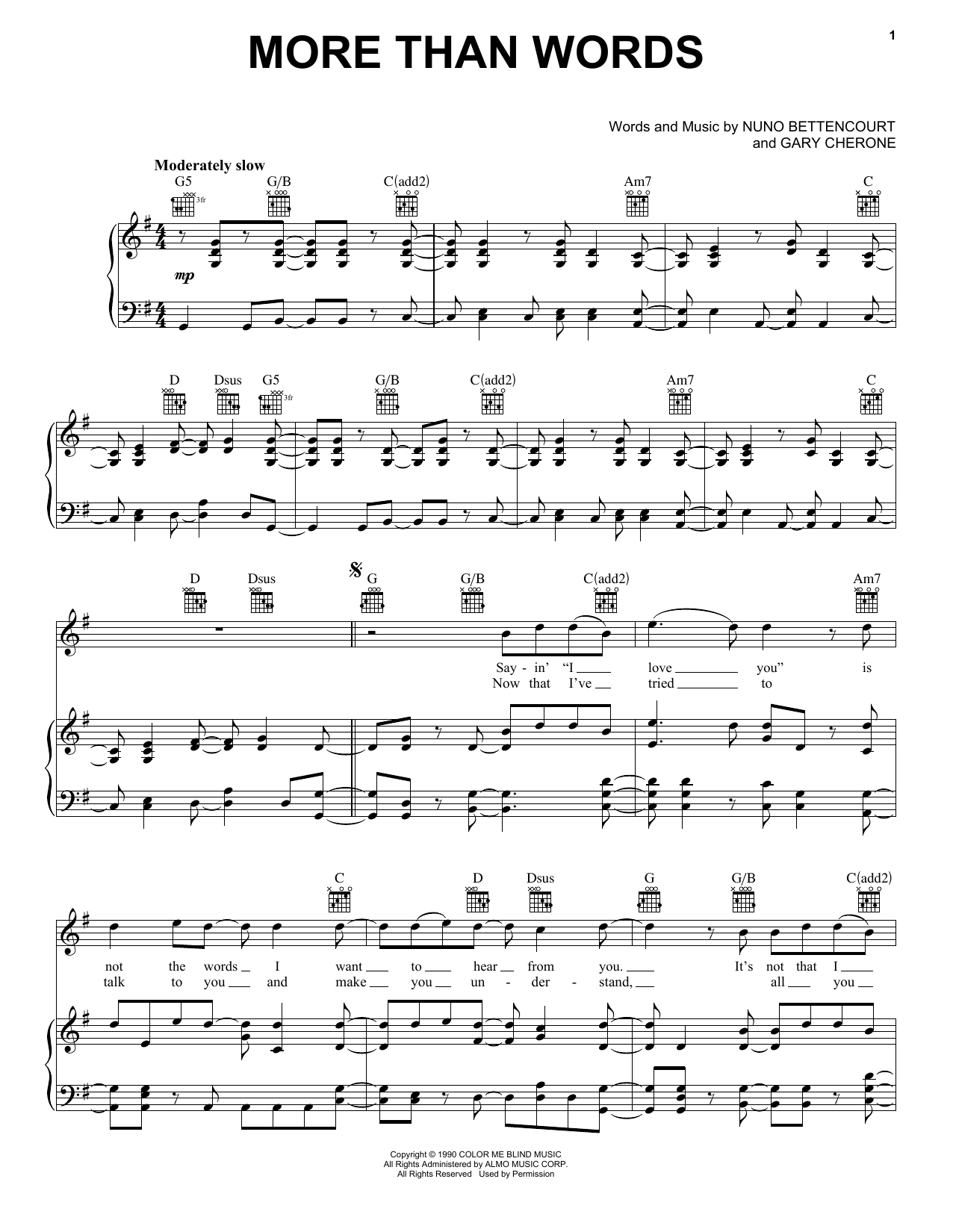 Extreme More Than Words sheet music preview music notes and score for Piano, Vocal & Guitar including 6 page(s)