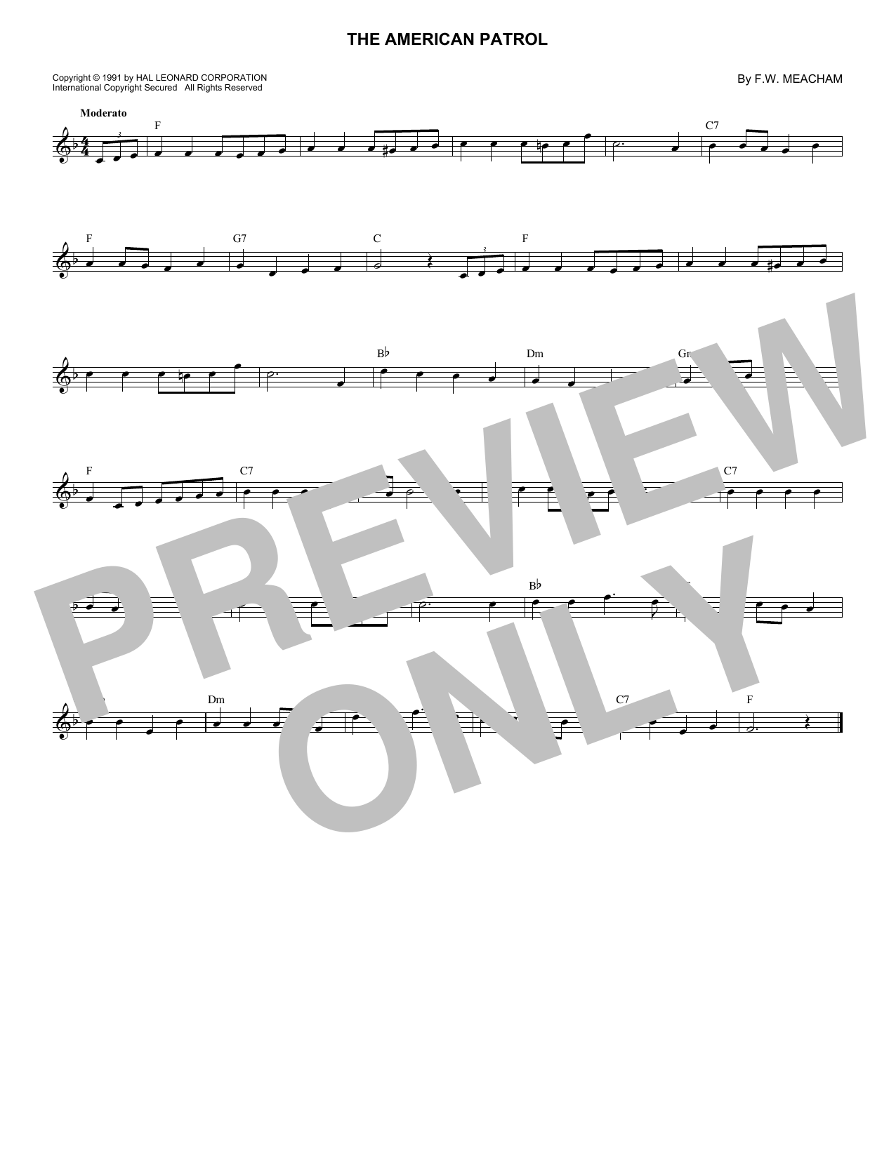 Download F.W. Meacham 'The American Patrol' Digital Sheet Music Notes & Chords and start playing in minutes