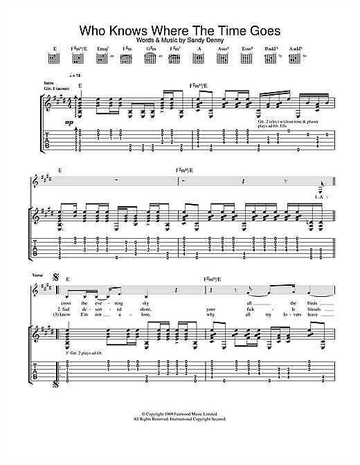 Fairport Convention Who Knows Where The Time Goes sheet music notes and chords