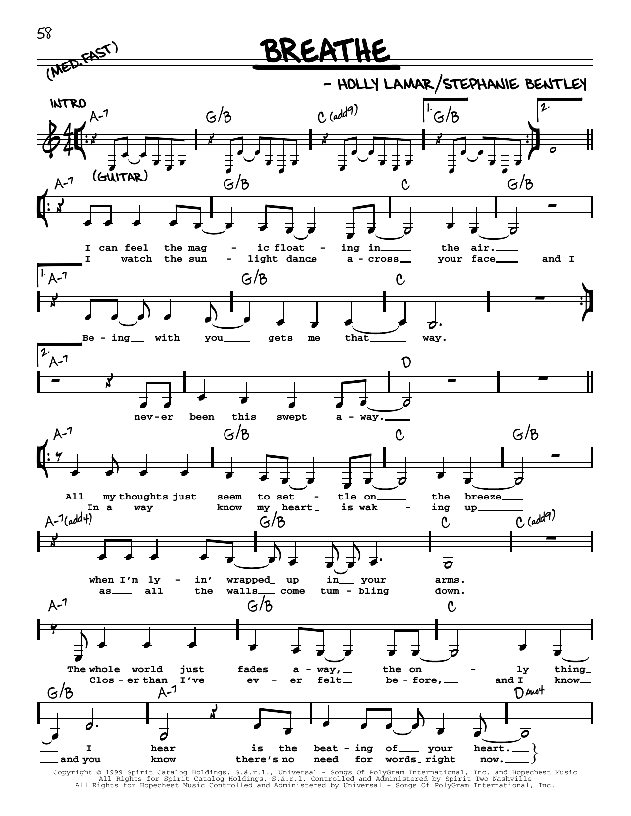 Faith Hill Breathe sheet music preview music notes and score for Easy Guitar including 3 page(s)