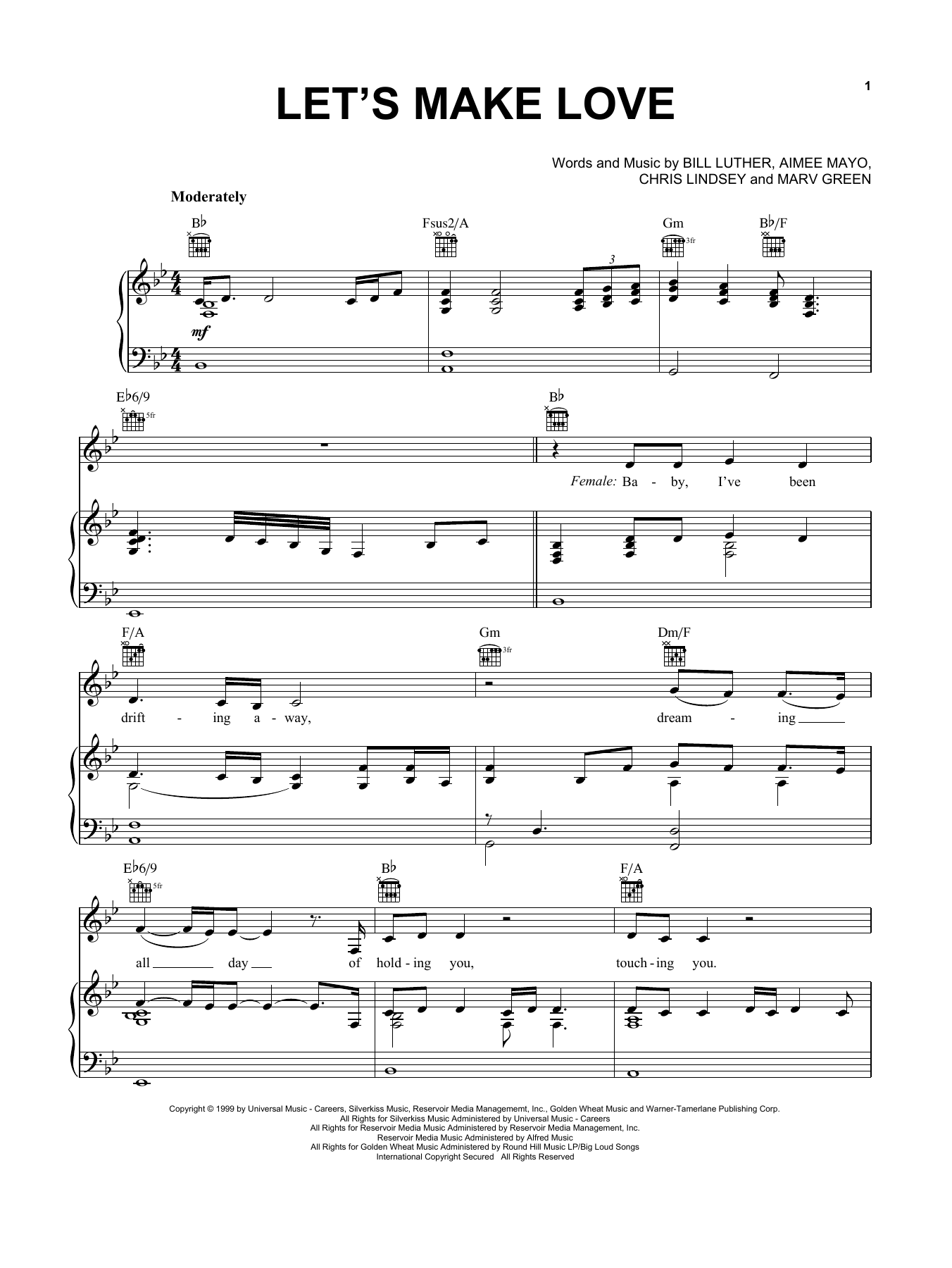 Faith Hill with Tim McGraw Let's Make Love sheet music notes and chords