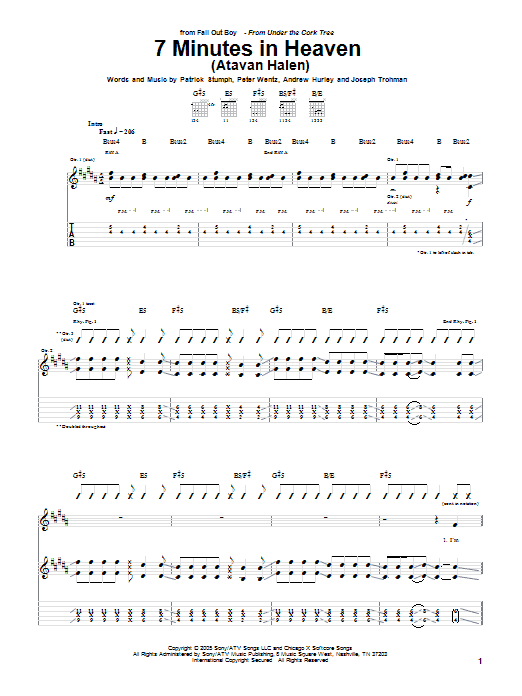 Download Fall Out Boy '7 Minutes In Heaven (Atavan Halen)' Digital Sheet Music Notes & Chords and start playing in minutes