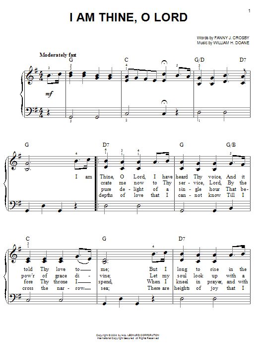 Fanny J. Crosby I Am Thine, O Lord sheet music notes and chords