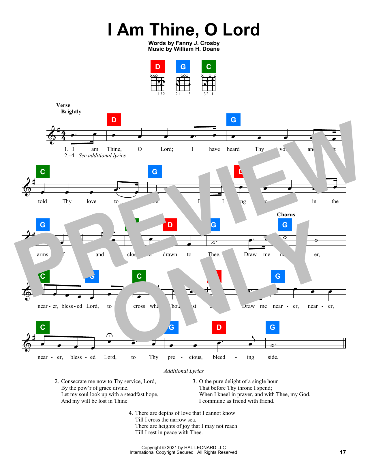 Fanny J. Crosby I Am Thine, O Lord sheet music preview music notes and score for Easy Piano including 2 page(s)