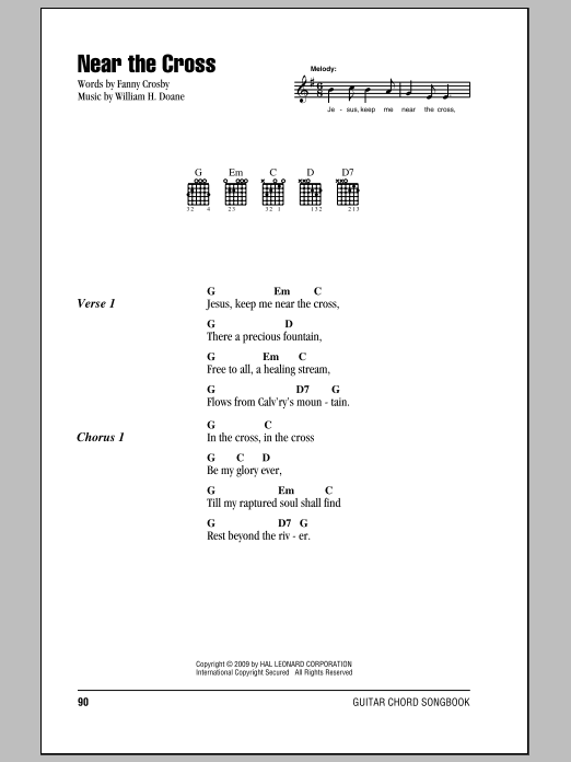 Fanny J. Crosby Near The Cross sheet music preview music notes and score for Ukulele including 2 page(s)