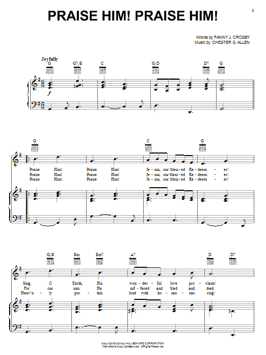 Download Fanny J. Crosby 'Praise Him! Praise Him!' Digital Sheet Music Notes & Chords and start playing in minutes