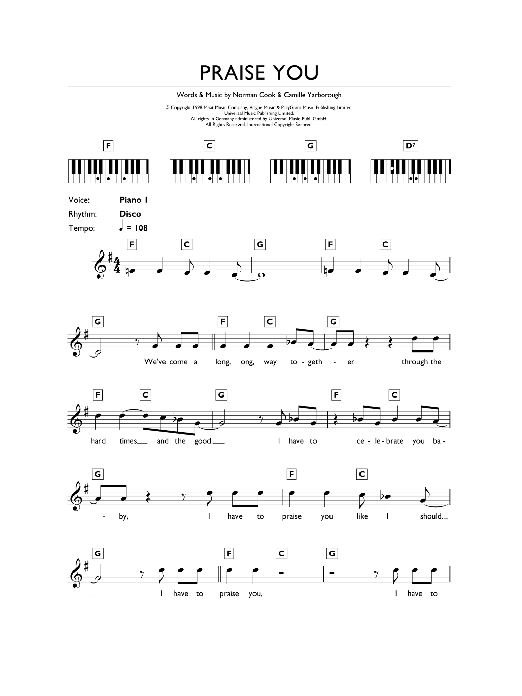 Fatboy Slim Praise You sheet music preview music notes and score for Keyboard including 2 page(s)