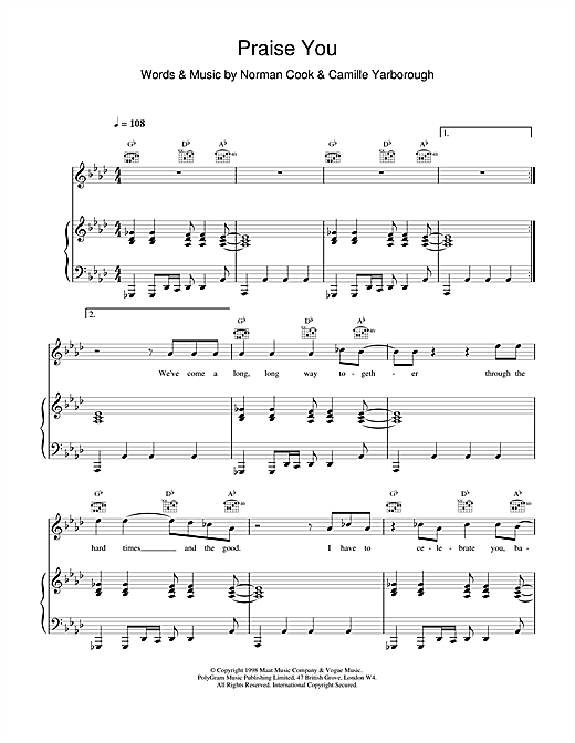 Fatboy Slim Praise You sheet music notes and chords