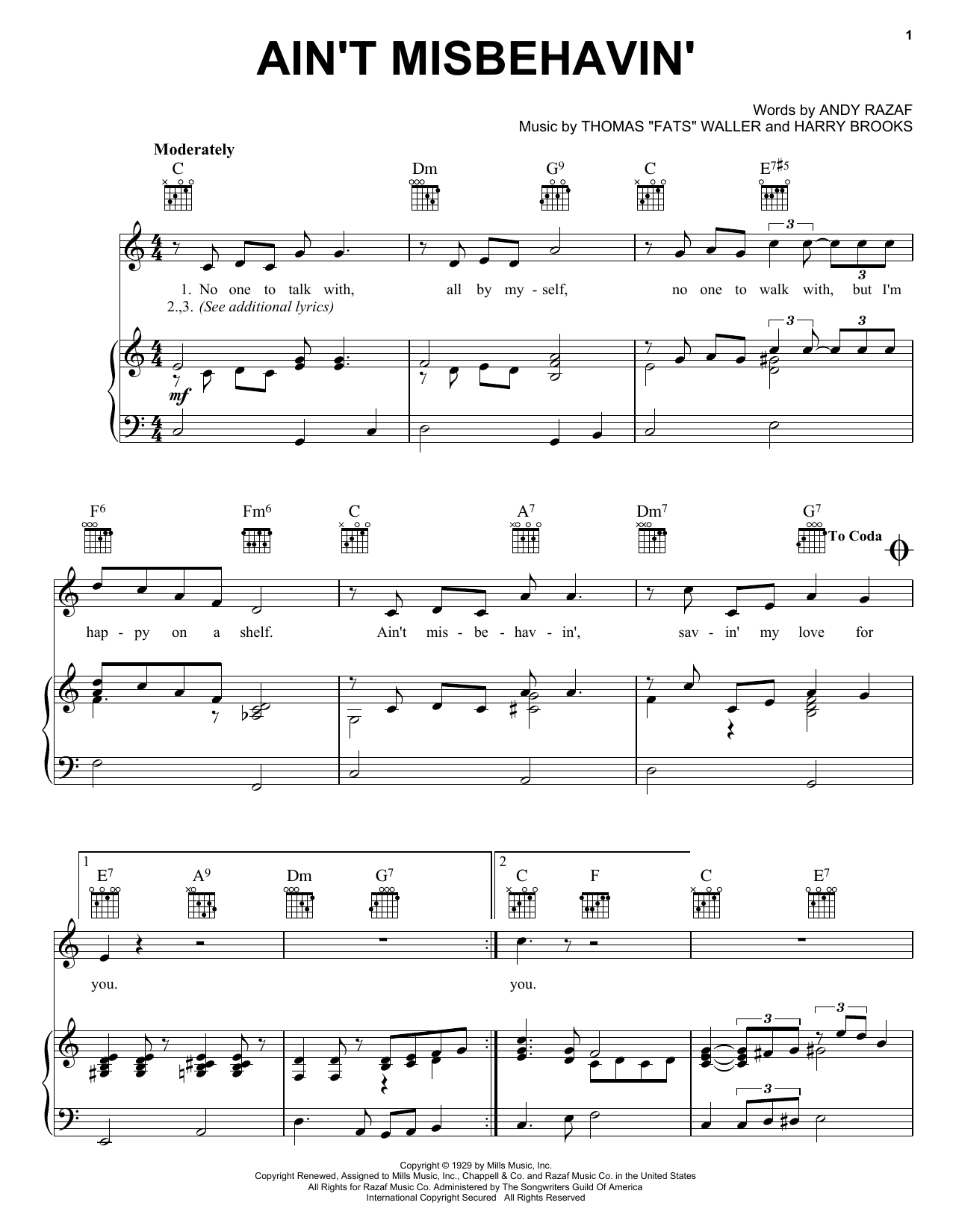 Fats Waller Ain't Misbehavin' sheet music preview music notes and score for Piano, Vocal & Guitar (Right-Hand Melody) including 2 page(s)