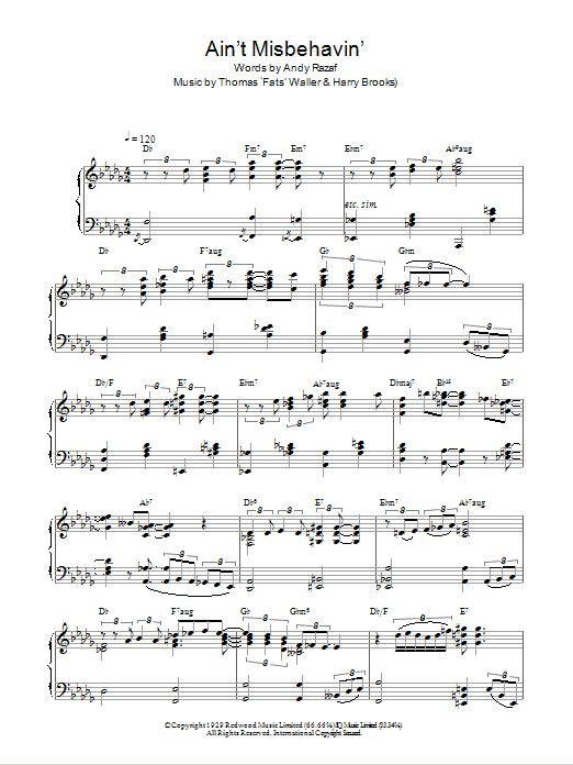 Fats Waller Ain't Misbehavin' sheet music preview music notes and score for Piano, Vocal & Guitar (Right-Hand Melody) including 5 page(s)