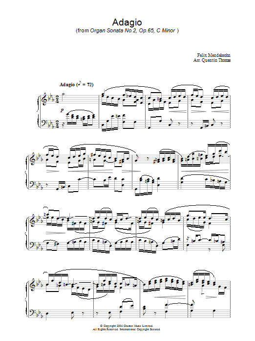 Felix Mendelssohn Adagio From Organ Sonata No.2, Op. 65 sheet music preview music notes and score for Piano including 3 page(s)