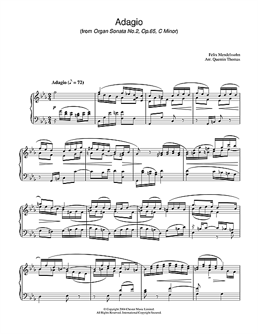 Download Felix Mendelssohn 'Adagio From Organ Sonata No.2, Op. 65' Digital Sheet Music Notes & Chords and start playing in minutes