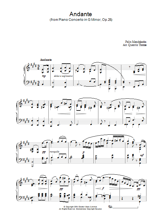 Felix Mendelssohn Andante From Piano Concerto In G Minor, Op. 25 sheet music preview music notes and score for Piano including 5 page(s)