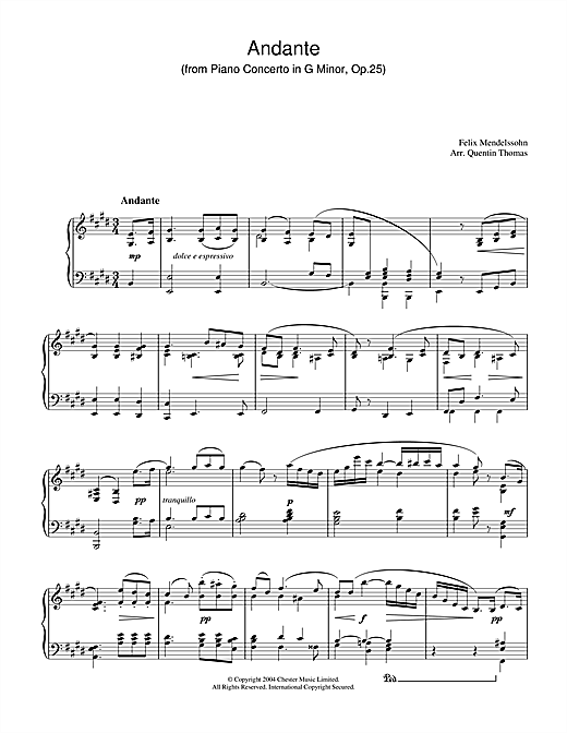 Download Felix Mendelssohn 'Andante From Piano Concerto In G Minor, Op. 25' Digital Sheet Music Notes & Chords and start playing in minutes