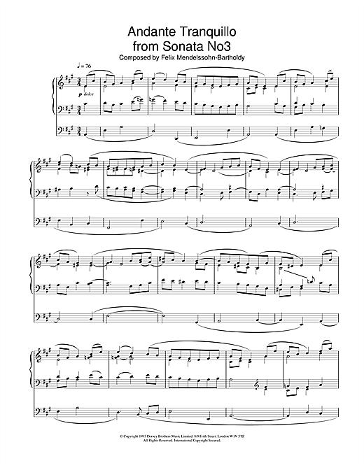 Felix Mendelssohn Andante Tranquillo From Sonata No.3 sheet music notes and chords