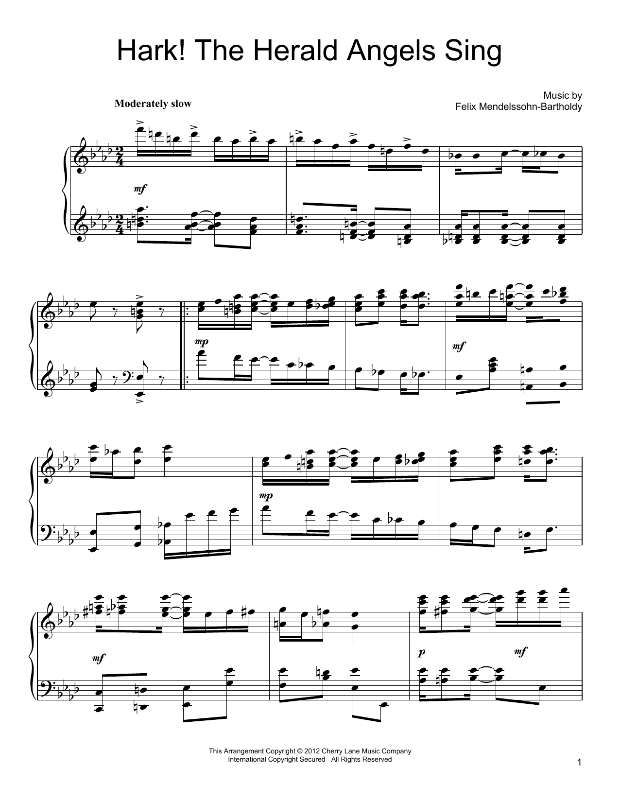 Felix Mendelssohn Hark! The Herald Angels Sing sheet music preview music notes and score for Piano including 2 page(s)