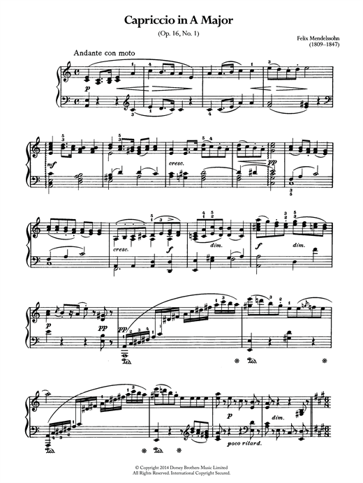Download Felix Mendelssohn 'Capriccio In A Major' Digital Sheet Music Notes & Chords and start playing in minutes
