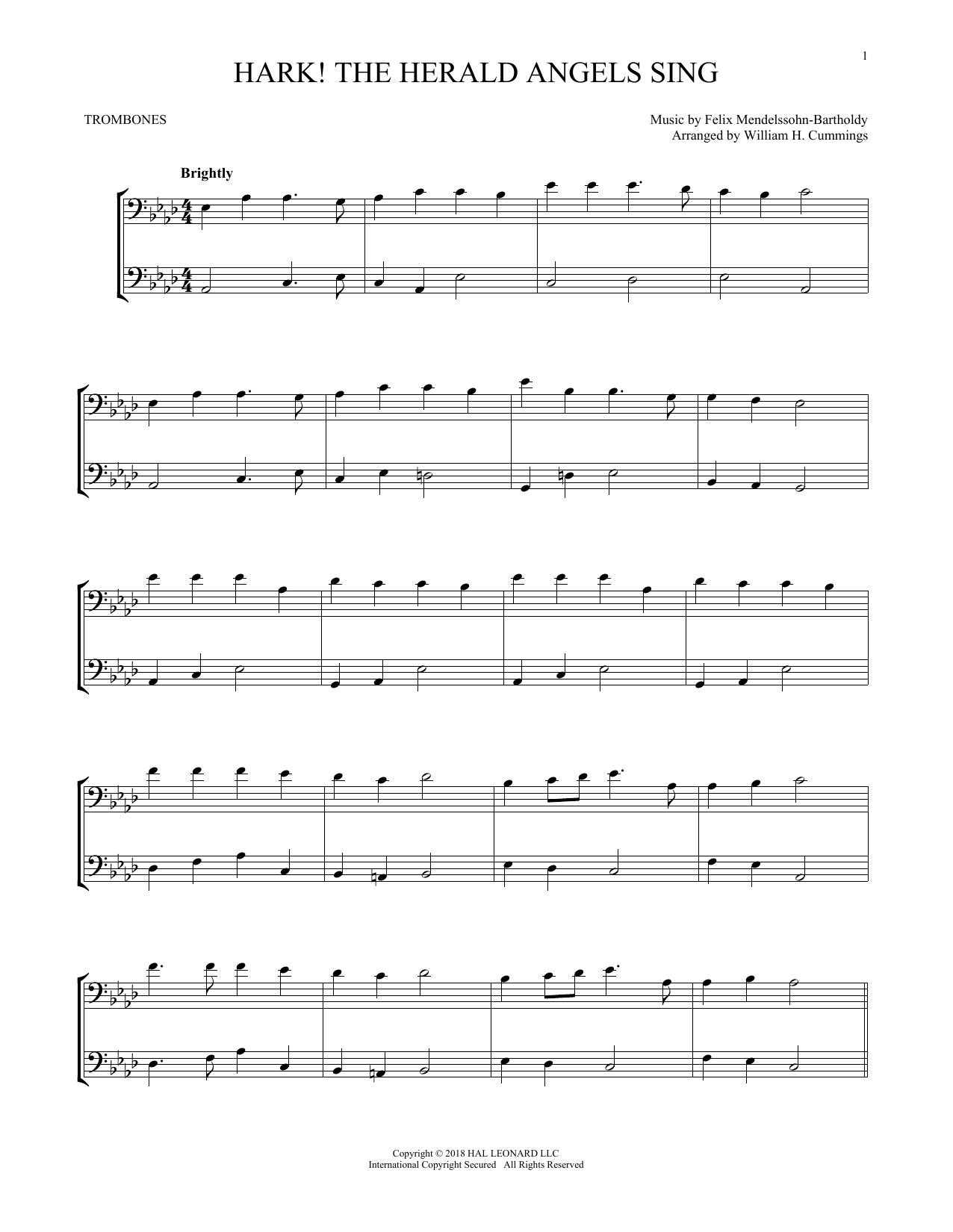 Download Felix Mendelssohn 'Hark! The Herald Angels Sing' Digital Sheet Music Notes & Chords and start playing in minutes