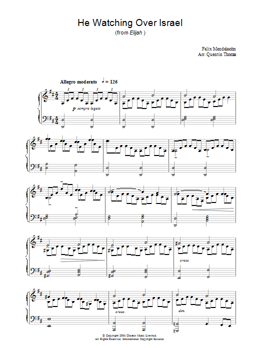 Felix Mendelssohn He Watching Over Israel (from Elijah) sheet music preview music notes and score for Piano including 4 page(s)
