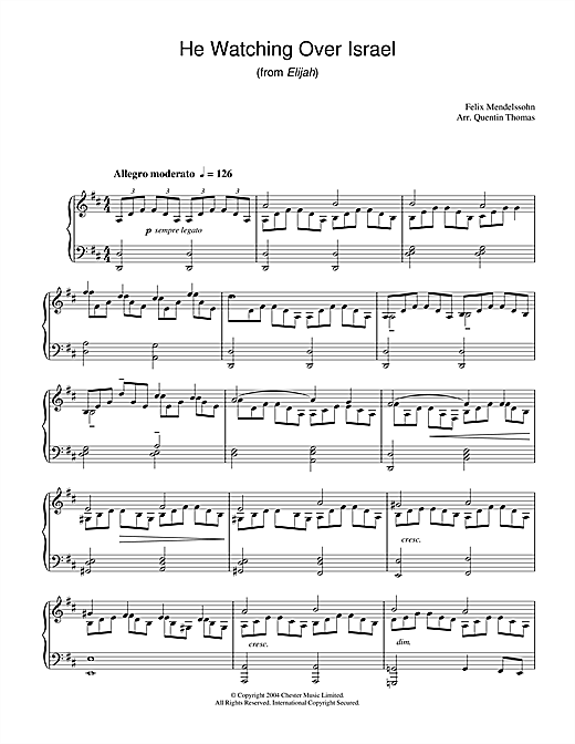 Download Felix Mendelssohn 'He Watching Over Israel (from Elijah)' Digital Sheet Music Notes & Chords and start playing in minutes