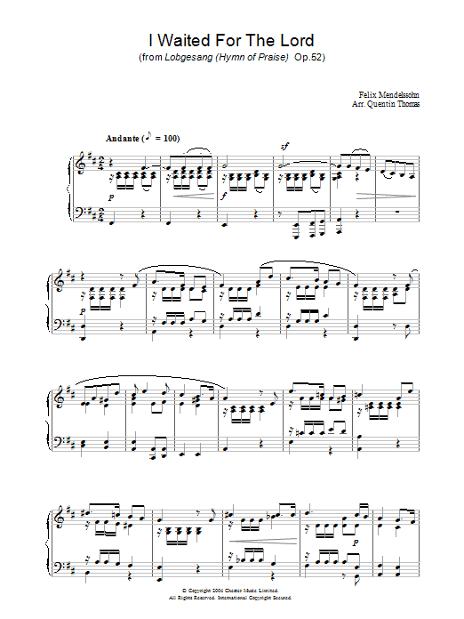 Felix Mendelssohn I Waited For The Lord sheet music preview music notes and score for Piano including 3 page(s)
